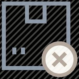 cardboard box, delete box, delete package, delivery box, parcel icon