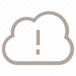 cloud computing, cloud error, cloud warning, exclamation mark, storage cloud icon