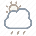 atmosphere, cloud, raining, sun, weather icon