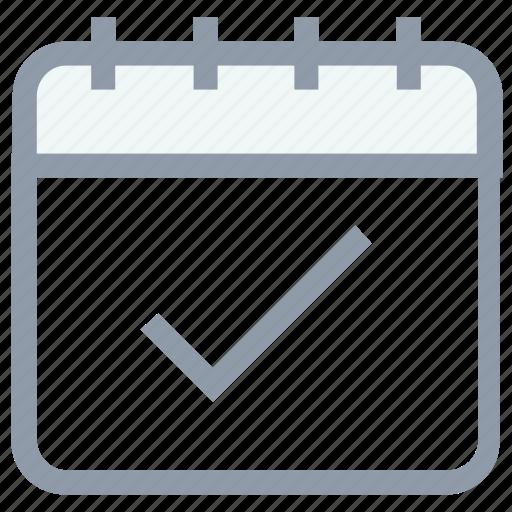 calendar, calendar checkmark, checkmark, meeting, organizer icon