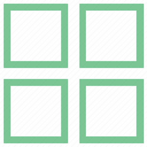 four squares, grid, layout, squares, web design element icon
