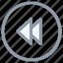 fast rewind, media button, media player, previous track, rewind button icon