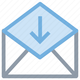 envelope, mail, open mail, received mail, received message icon