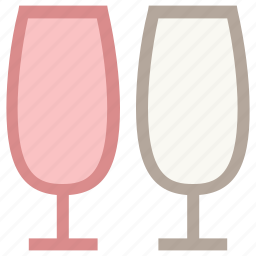 alcohol, champagne, drink, two glasses, wineglass icon