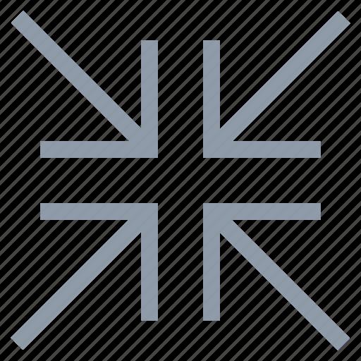 arrow, arrow pointing, four arrow, inward, midpoint, shrink icon