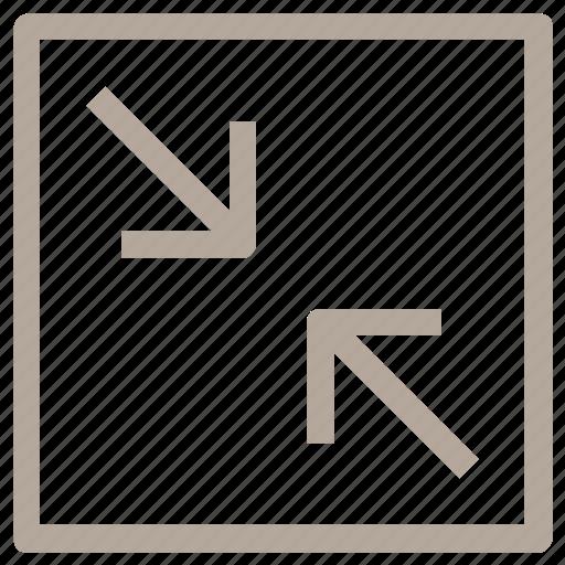 arrow pointing, arrows, decrease size, diagonal arrows, shrink symbol icon