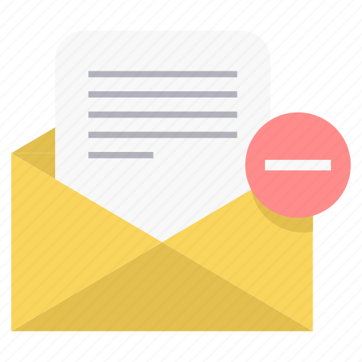 mail, minus icon