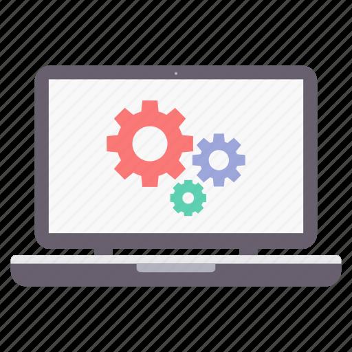 configuration, laptop, settings icon