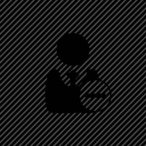 businessman, dashboard, delete, minus, remove, users icon