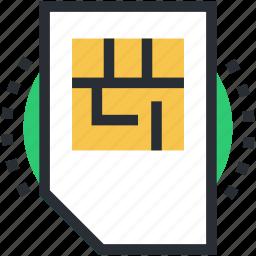 chip, integrated chip, phone sim, sim, sim card icon