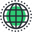 earth grid, globe, planet, world map, worldwide icon