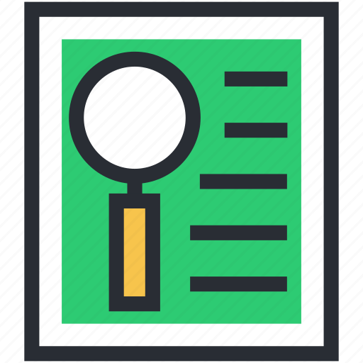 file, magnifier, magnifying glass, paper, search file, searching icon