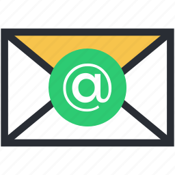 arroba, at sign, envelope, letter, mailbox icon