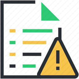 attention, caution, error in file, exclamation, notification icon