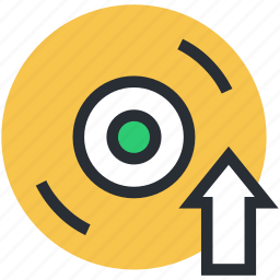 compact disk, disk, dvd, up arrow, up cd icon