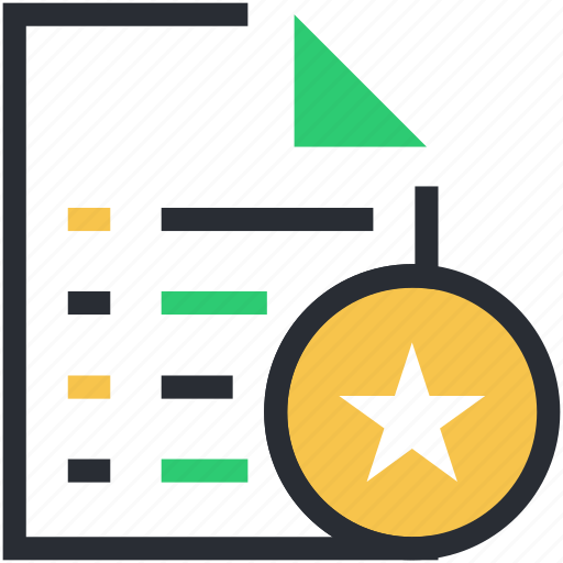 ranking star, sheet ranking, star, star ornament, text sheet icon