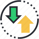 arrow, outbox, up and down, up arrow, upward arrow icon