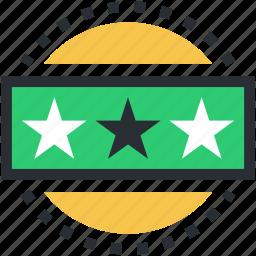 ranking star, star ornament, stars, three star hotel, three stars icon