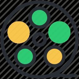 bobbin reel, camera reel, film stip, reel, tape reel icon