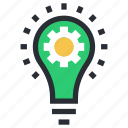 bulb, cog, idea, innovation, invention