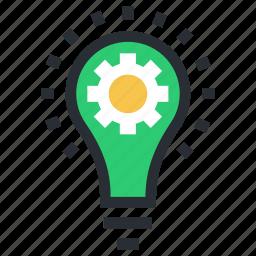 bulb, cog, idea, innovation, invention icon