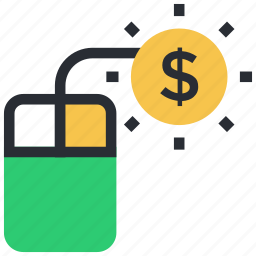 dollar, mouse, online business, online money, online work icon