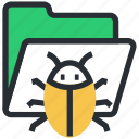 antivirus, bug, computer virus, data virus, folder icon