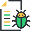antivirus, bug, computer virus, data virus, document icon