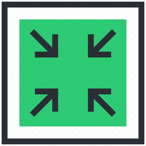 arrows, exit fullscreen, minimize, resize, shrink icon