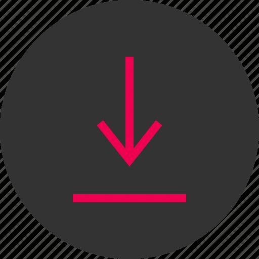 arrow, attachement, down, download, menu, point icon