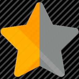 bookmark, half, rating, star icon
