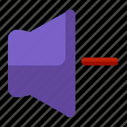decrease, interface, lower, ui, user, volume icon