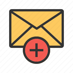 add, communication, email, envelop, mail, sign, web icon