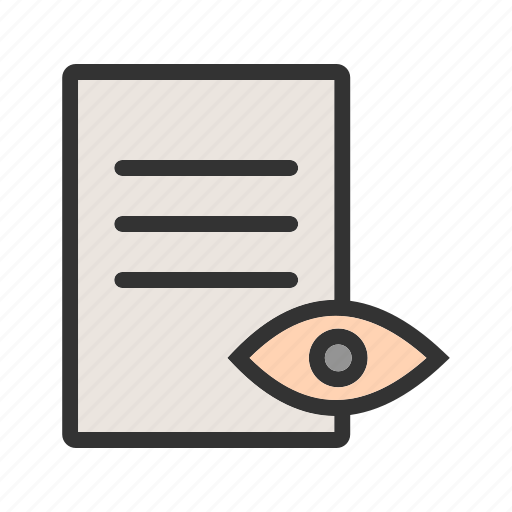 document, magnifying, page, preview, research, search, view icon