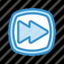 arrow, forward, media, music, player