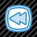 arrow, backward, media, music, player