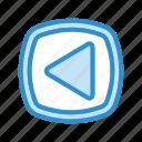 arrow, back, left, media, music, previous icon