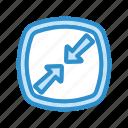 arrow, minimize, reduce, shrink