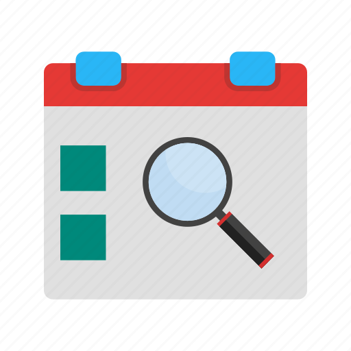 calendar, date, day, event, find, magnifying, search icon