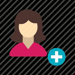 add, female, image, picture, profile, social, user icon