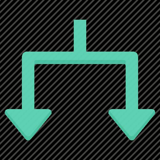 arrow, arrows, devide, down, split icon