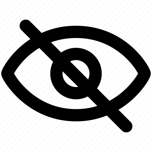 eye, hidden, hide, invisible, private, unview, user interface icon