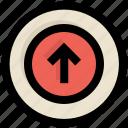 arrow, circle, direction, ui, up, upload, ux icon