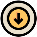 arrow, circle, direction, down, download, ui, ux icon