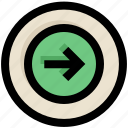 arrow, circle, direction, next, right, ui, ux icon