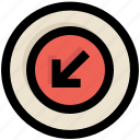 arrow, circle, direction, down, receive, ui, ux icon