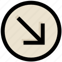 arrow, direction, down, right, ui, ux icon