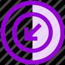 arrow, circle, direction, down, receive, ui, ux icon
