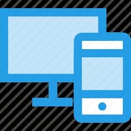 combo, flexible, lcd, monitor, responsive, screen, smartphone icon
