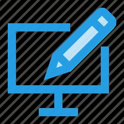 interface, lcd, pc, pencil, screen, ui, write icon